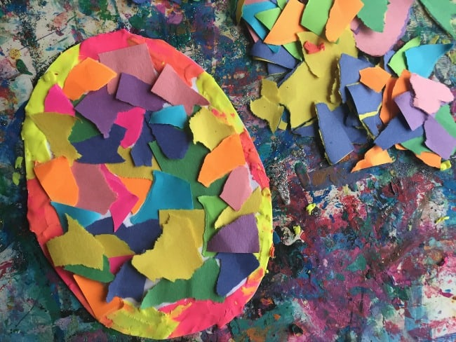 Indoor activities for preschoolers: paper and clay collage