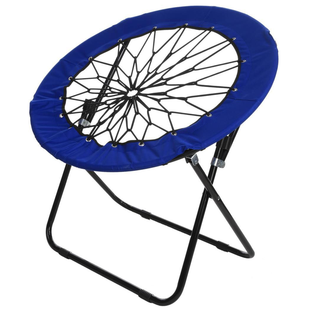 Bungi Chair Dark Blue Elastic Bungee Folding Chair Camping Garden