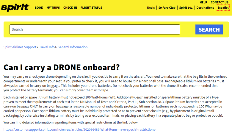 Image of Spirit Airlines Drone Policy