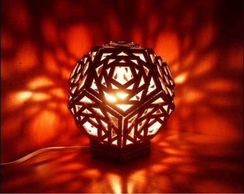 lampu tidur dari kardus bekas
