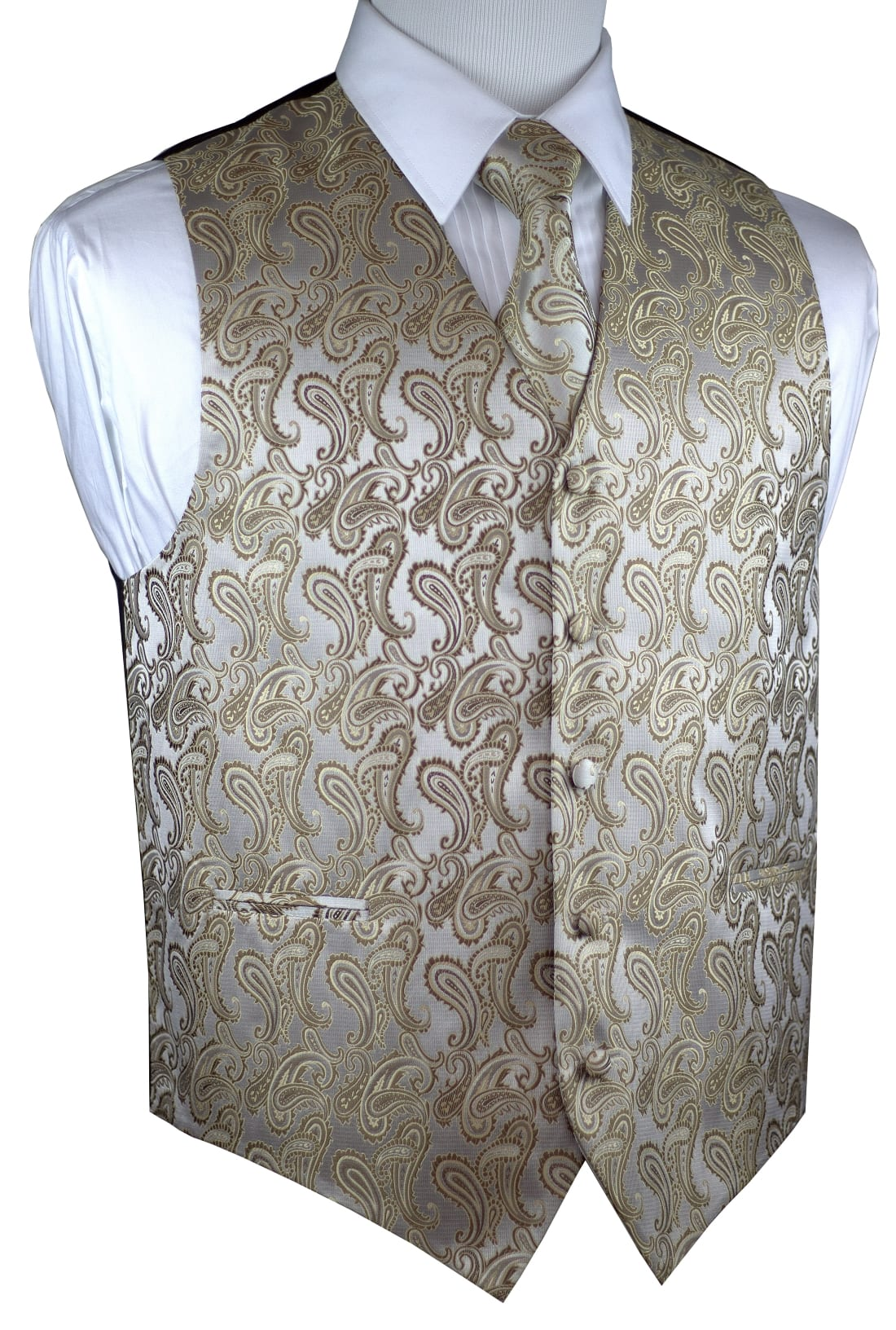 MEN/'S BURNT ORANGE PAISLEY FORMAL DRESS TUXEDO VEST /& BOW-TIE SET WEDDING PROM