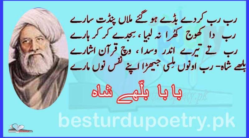 rab rab kardy buddy ho- bulleh shah poetry - besturdupoetry.pk