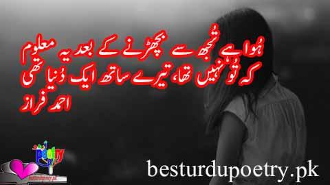 huwa hay tujh say bicharrny kay baad yeh maloom - ahmad faraz poetry in urdu - besturdupoetry.pk