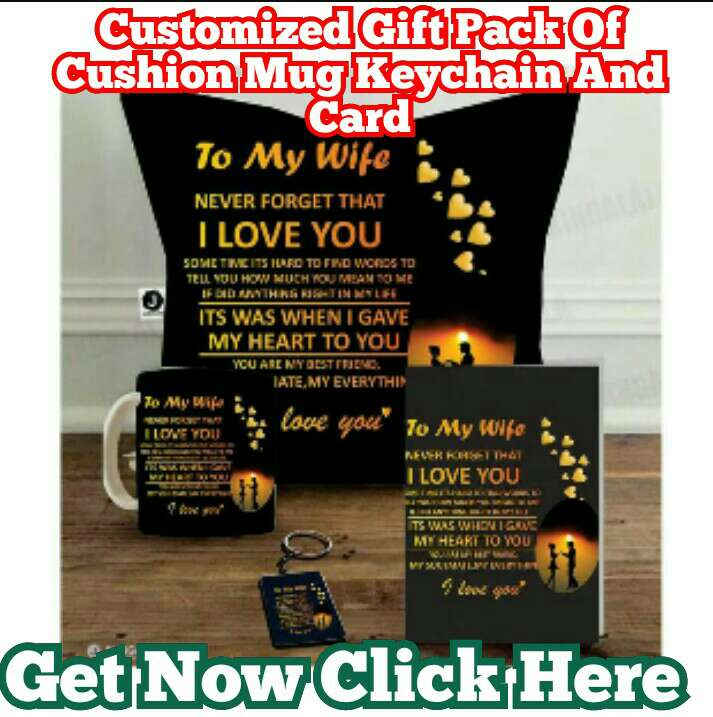 Customized valentine day Gift Pack Of Cushion Mug Keychain And Card