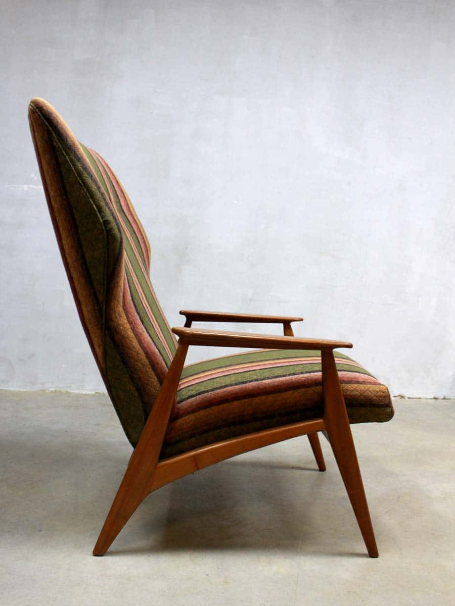 striped wingback chair covers folding chairs cheap vintage danish chair, design fauteuil deense