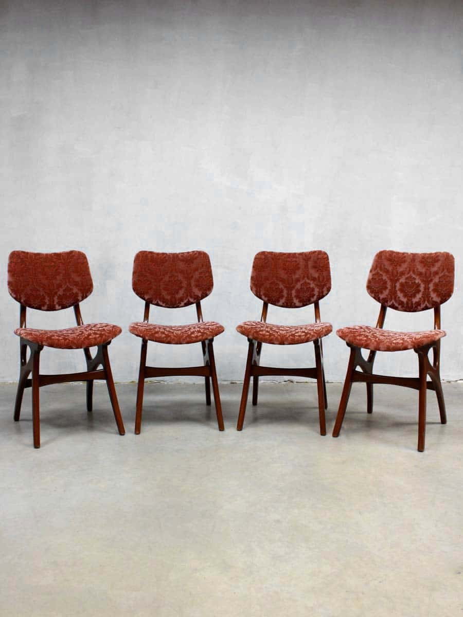 Mid century velvet dinner chairs dining chair vintage