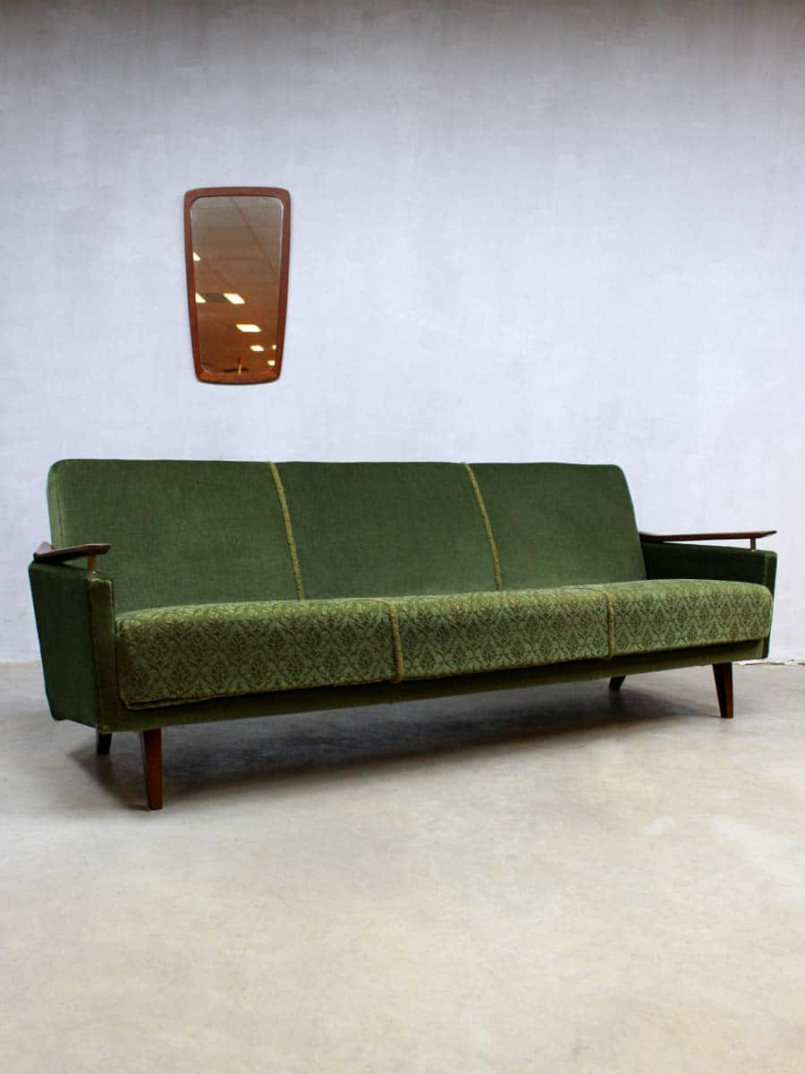 Vintage velours lounge bank fifties vintage velvet sofa