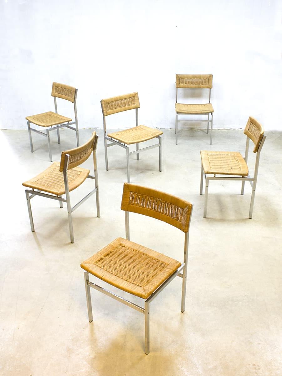 Midcentury vintage design rattan dinner chairs eetkamer