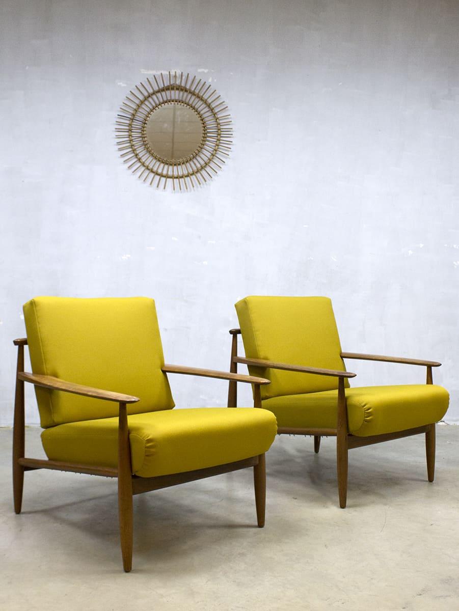 Midcentury Danish design lounge chairs vintage Deense