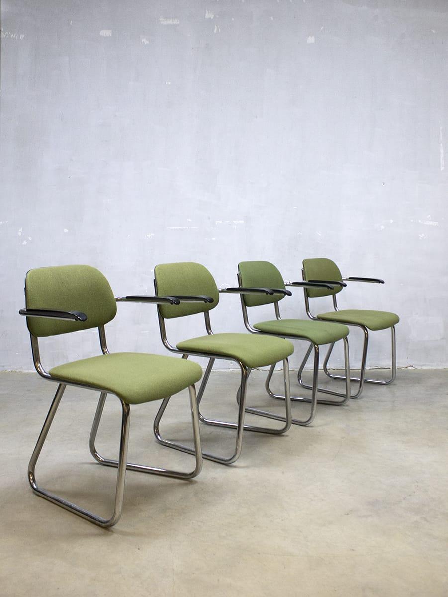Vintage design office chairs buisframe stoelen Gispen 212