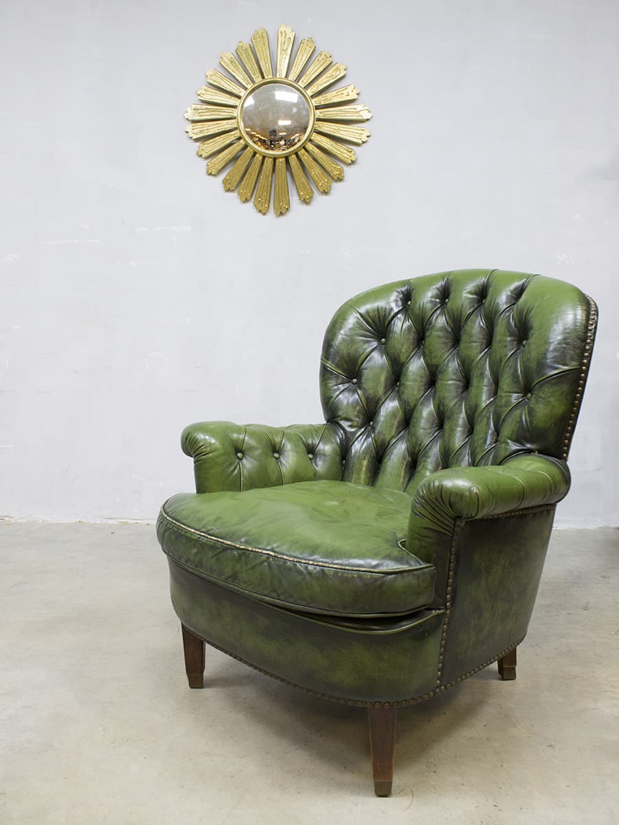 Vintage green Chesterfield lounge chair armchair fauteuil
