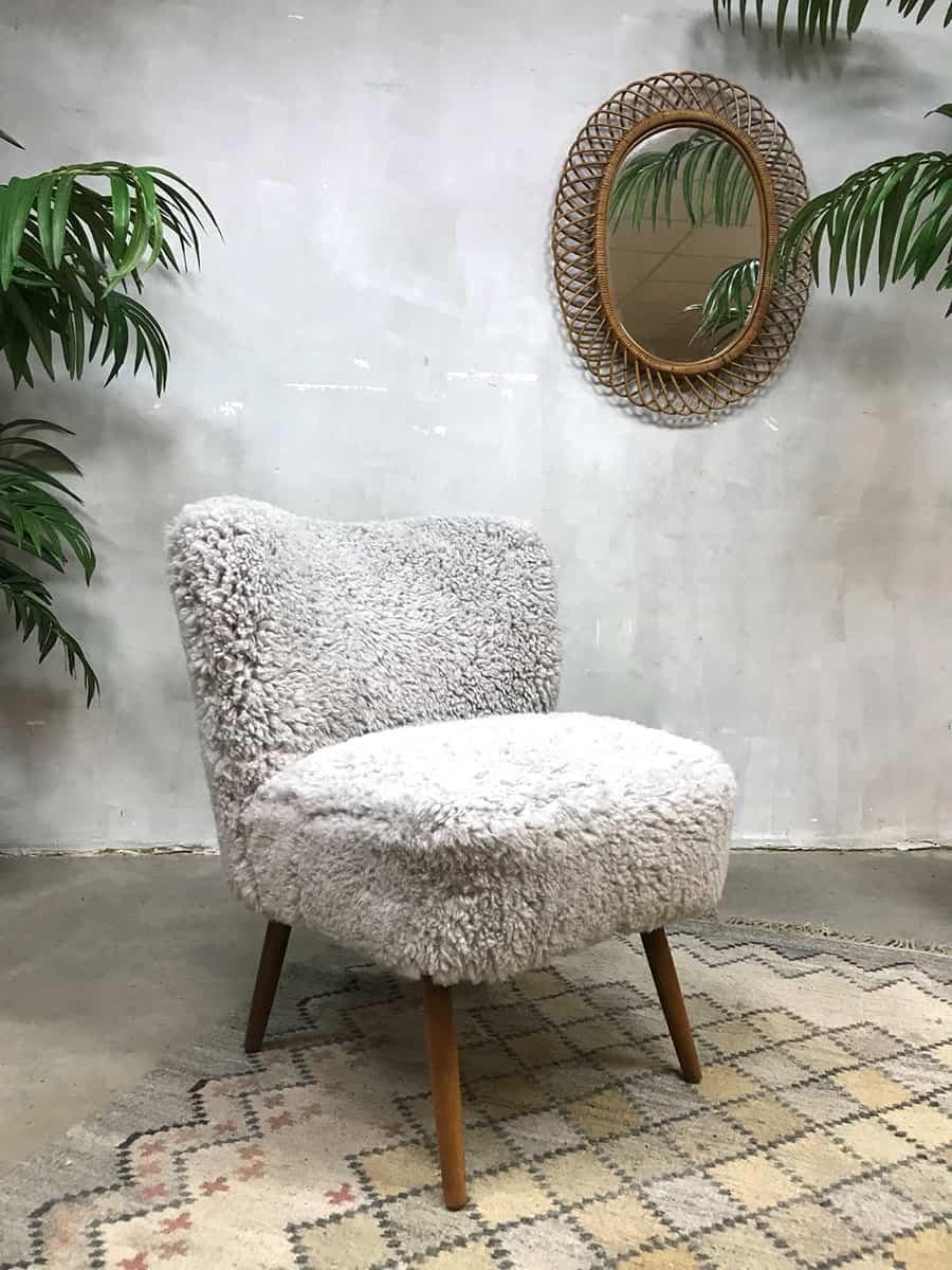 Vintage cocktail stoel schapenvacht cocktail chair Teddy