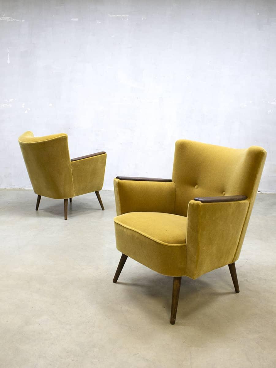 Vintage cocktail chair velvet arm chair velours lounge