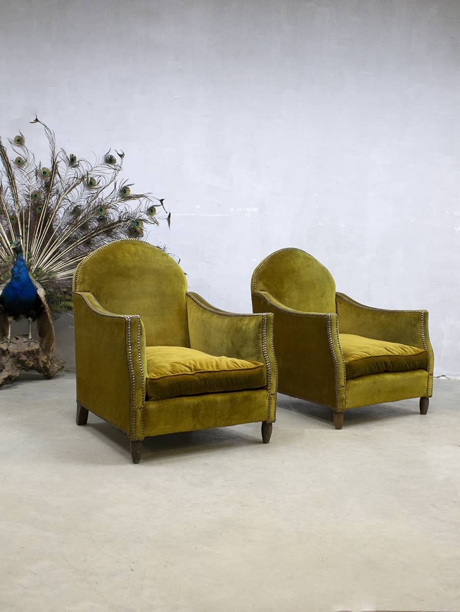 Antique vintage French velvet club chairs arm chairs Pure