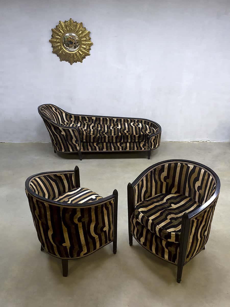 French vintage Art Deco velvet chaise longue lounge set