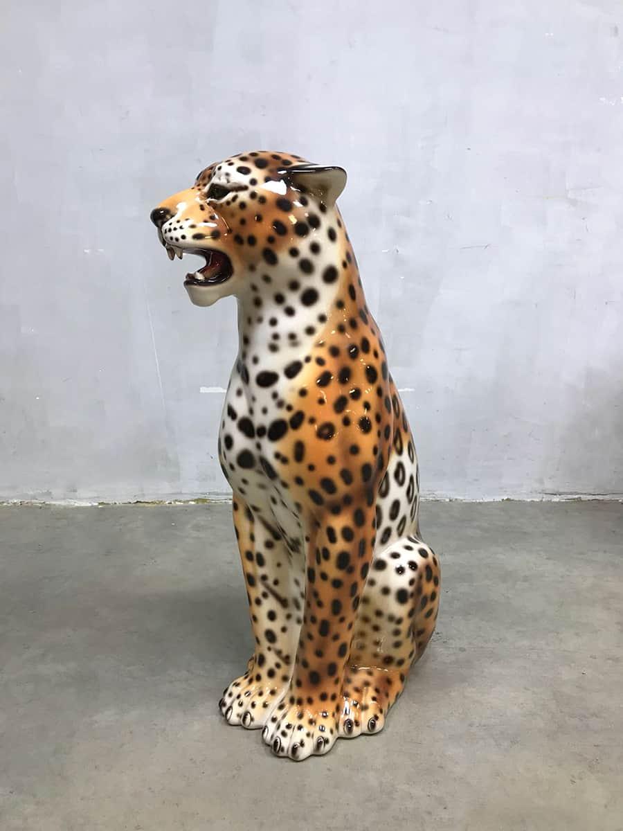 Vintage ceramic cheetah keramische tijger Italian design