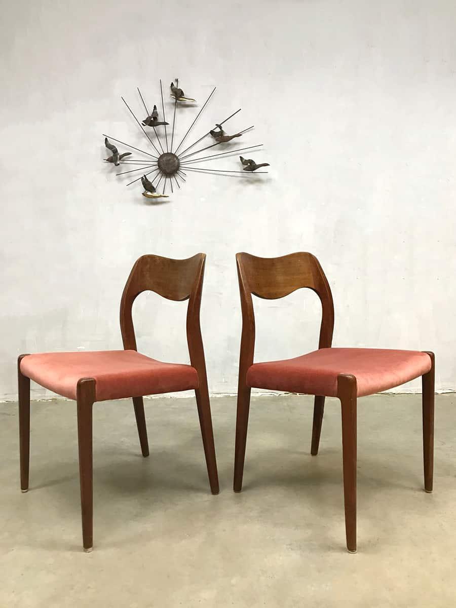Vintage design dusty pink dining chairs eetkamer stoelen
