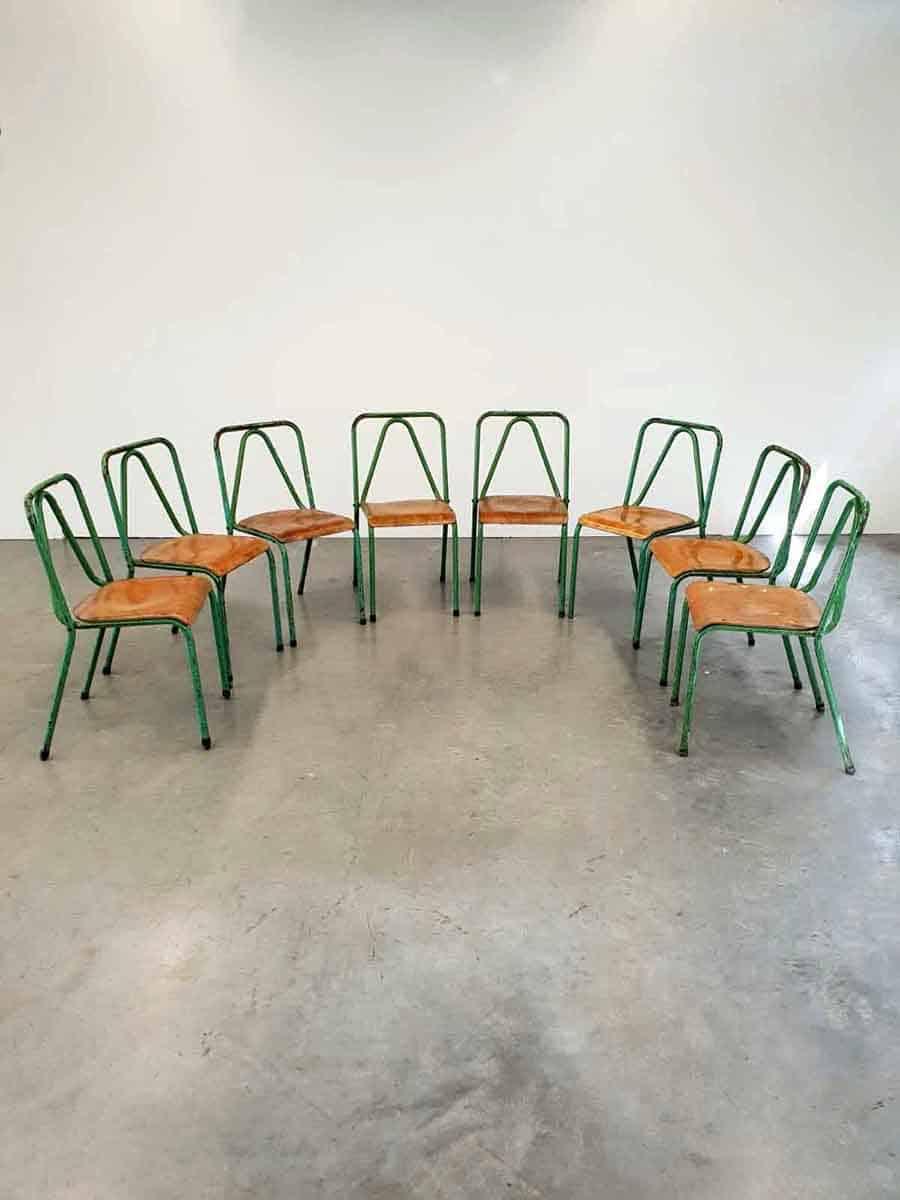 Vintage Industrial Tubax chairs stoelen industrieel