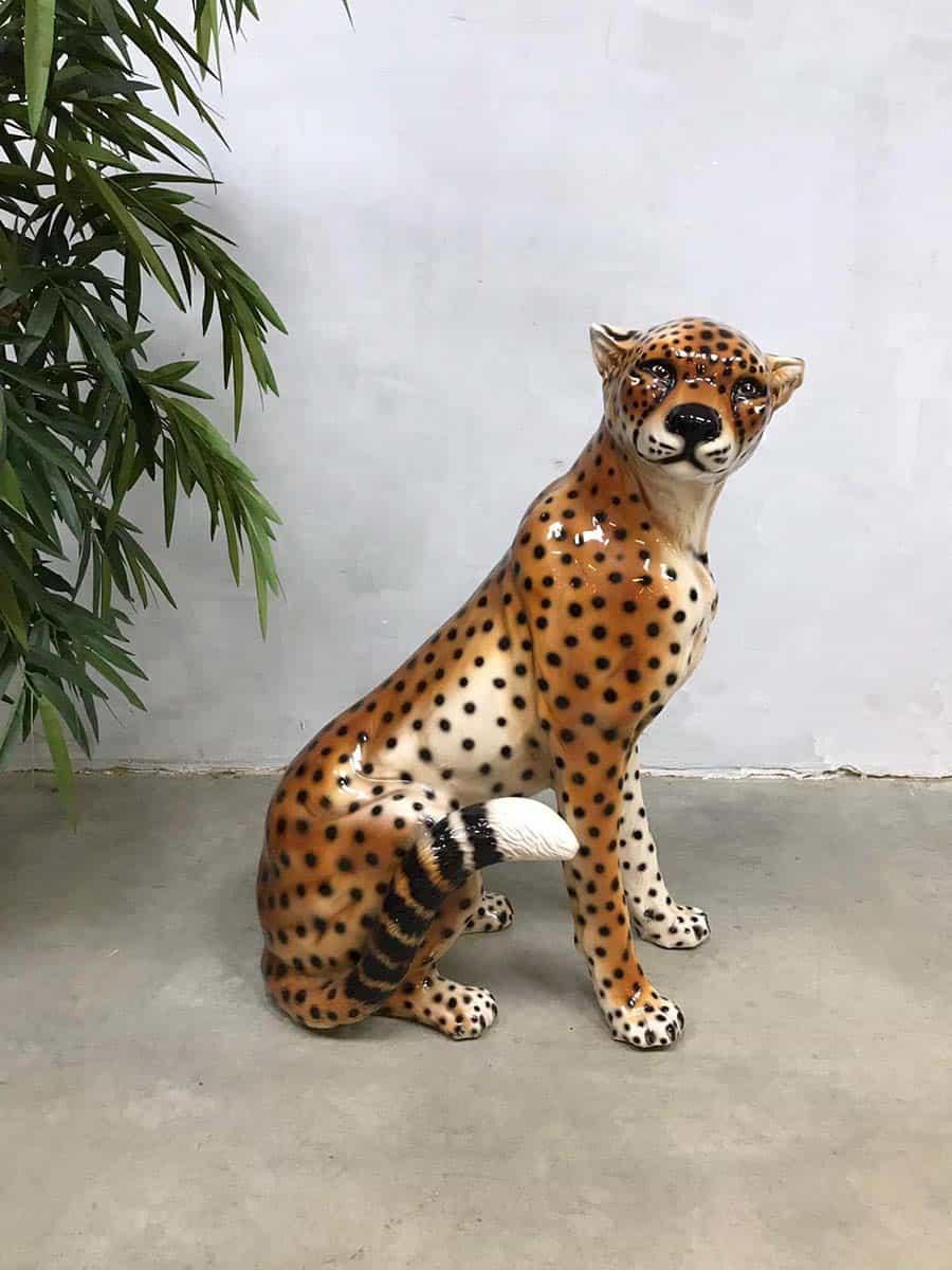 Vintage Italian ceramic cheetah tiger tijger keramiek