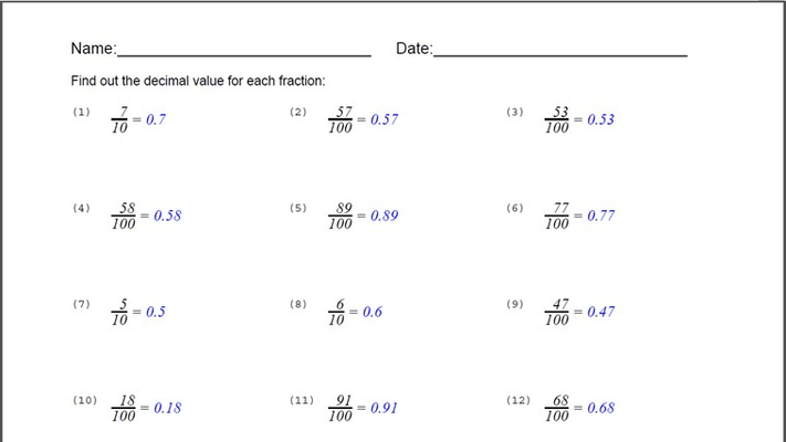 Fraction To Decimal Worksheet for Windows 8 and 8.1