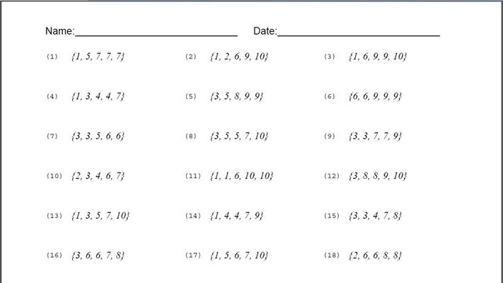 Mean Median Mode Range Worksheet for Windows 8 and 8.1