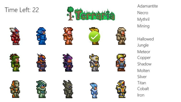 Terraria Armor Match for Windows 8 and 81