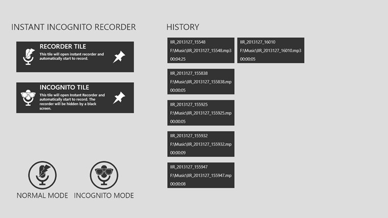 Instant Incognito Recorder for Windows 8 and 8.1