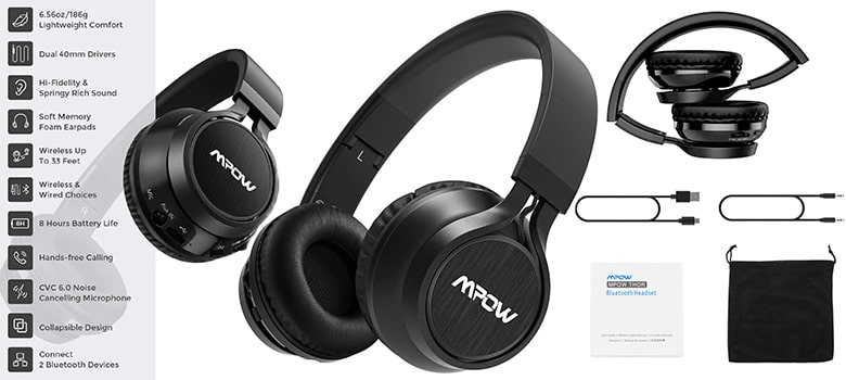 Mpow Thor Foldable Over-Ear Wireless Bluetooth Headphones