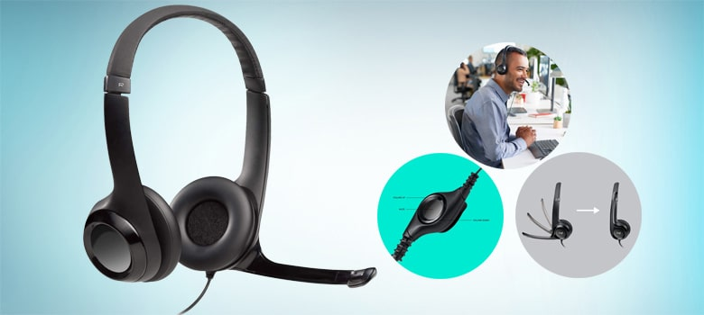 Logitech USB Headsets H390 with Noise Cancelling Mic