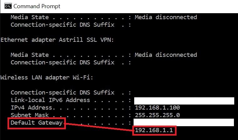 Default Gateway in Command Prompt Windows - Netgear Routers