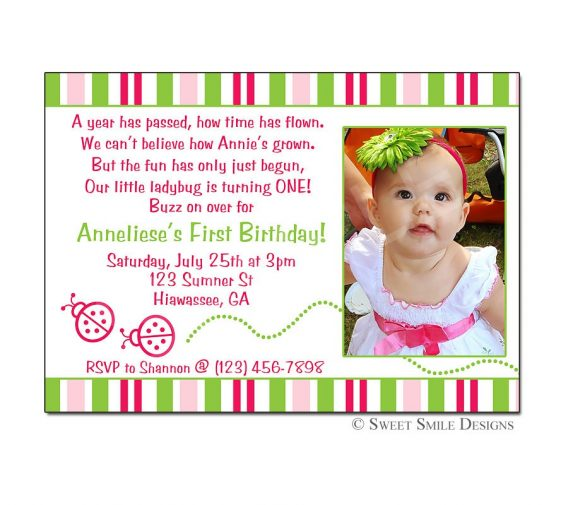 birthday party invitation wording for 1