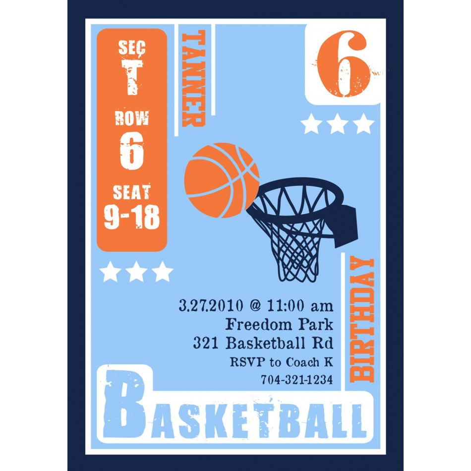 free basketball birthday invitation