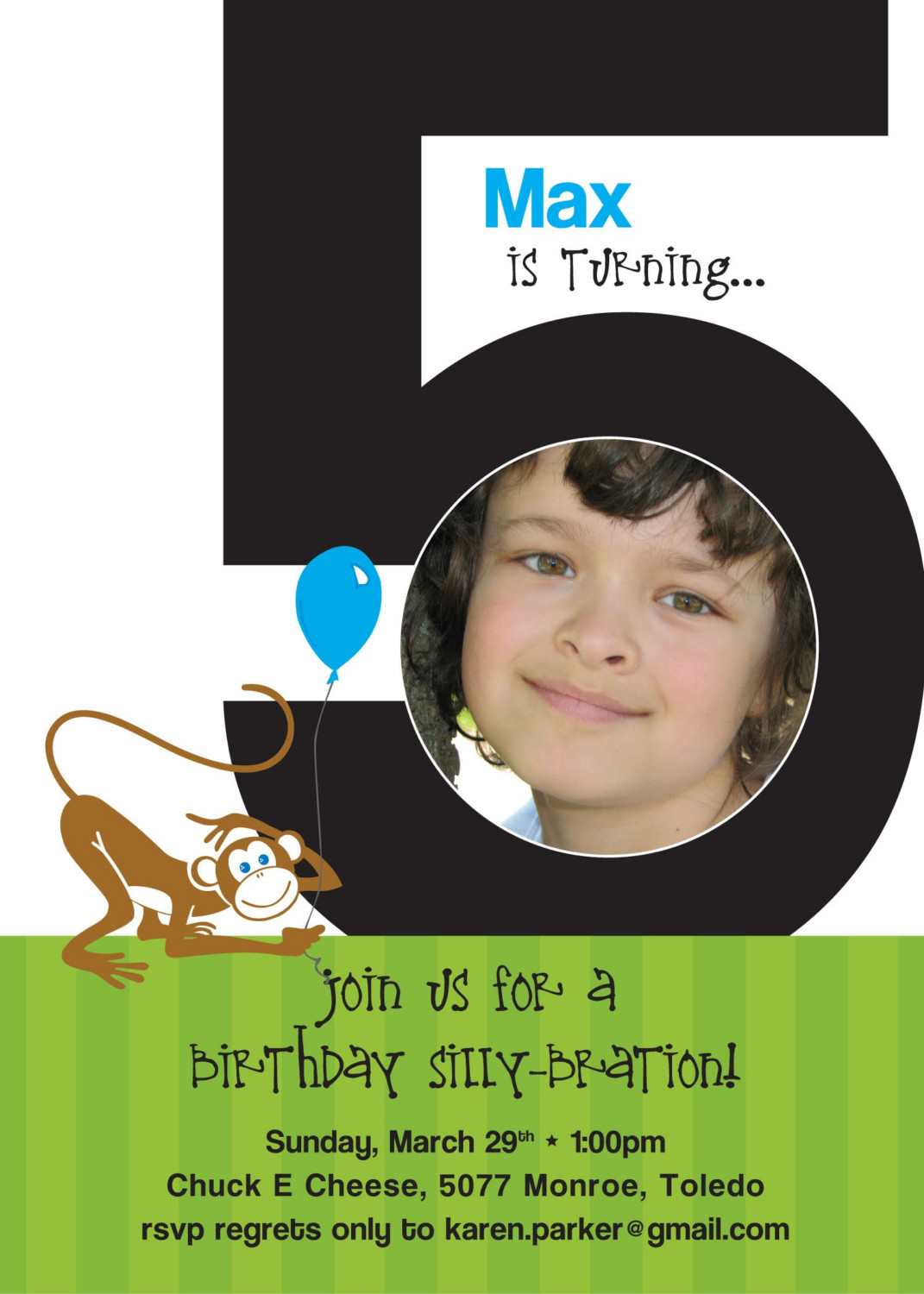 wording for a 5 year old birthday party