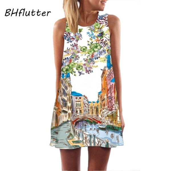 Short Beach Dress Women Casual Bohomian Dress