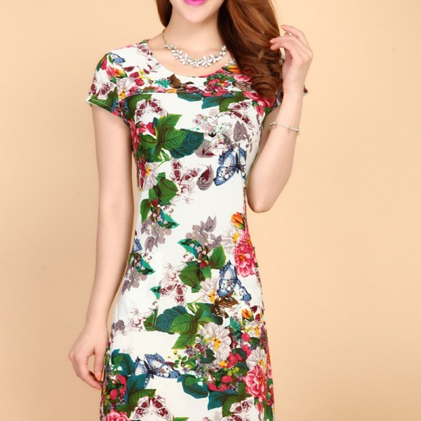 Summer Style Dresses Slim Tunic Milk Silk Print