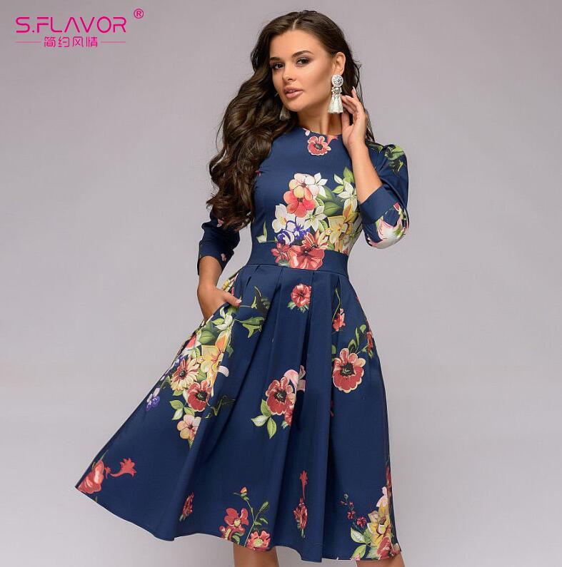 Women Elegant A-line Dress Printing Party Vestidos