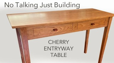 Entryway Table with Continuous Wood Grain Drawer Fronts