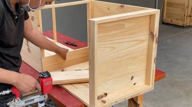 The First Woodworking project Of His 16-Year-Old Brother //How to Build a Table with a Bookshelf