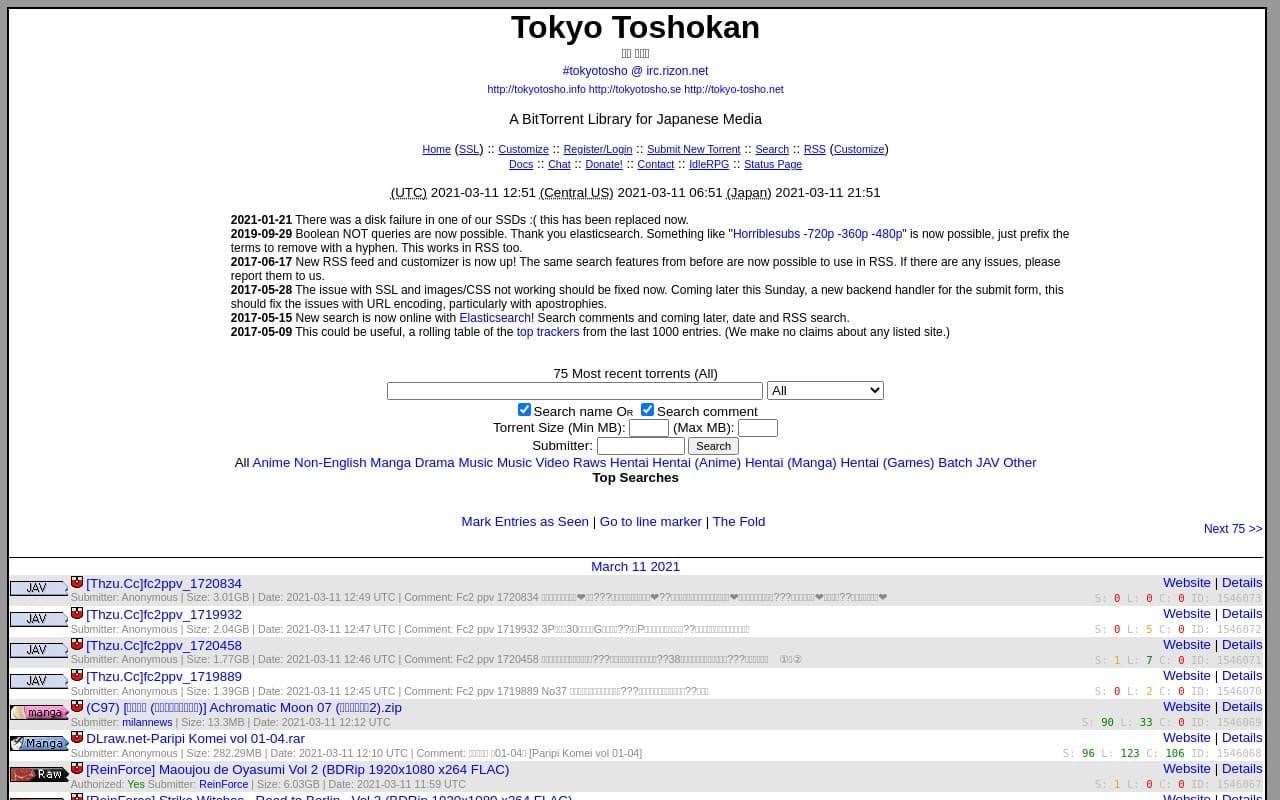 Tokyotosho - Best  List