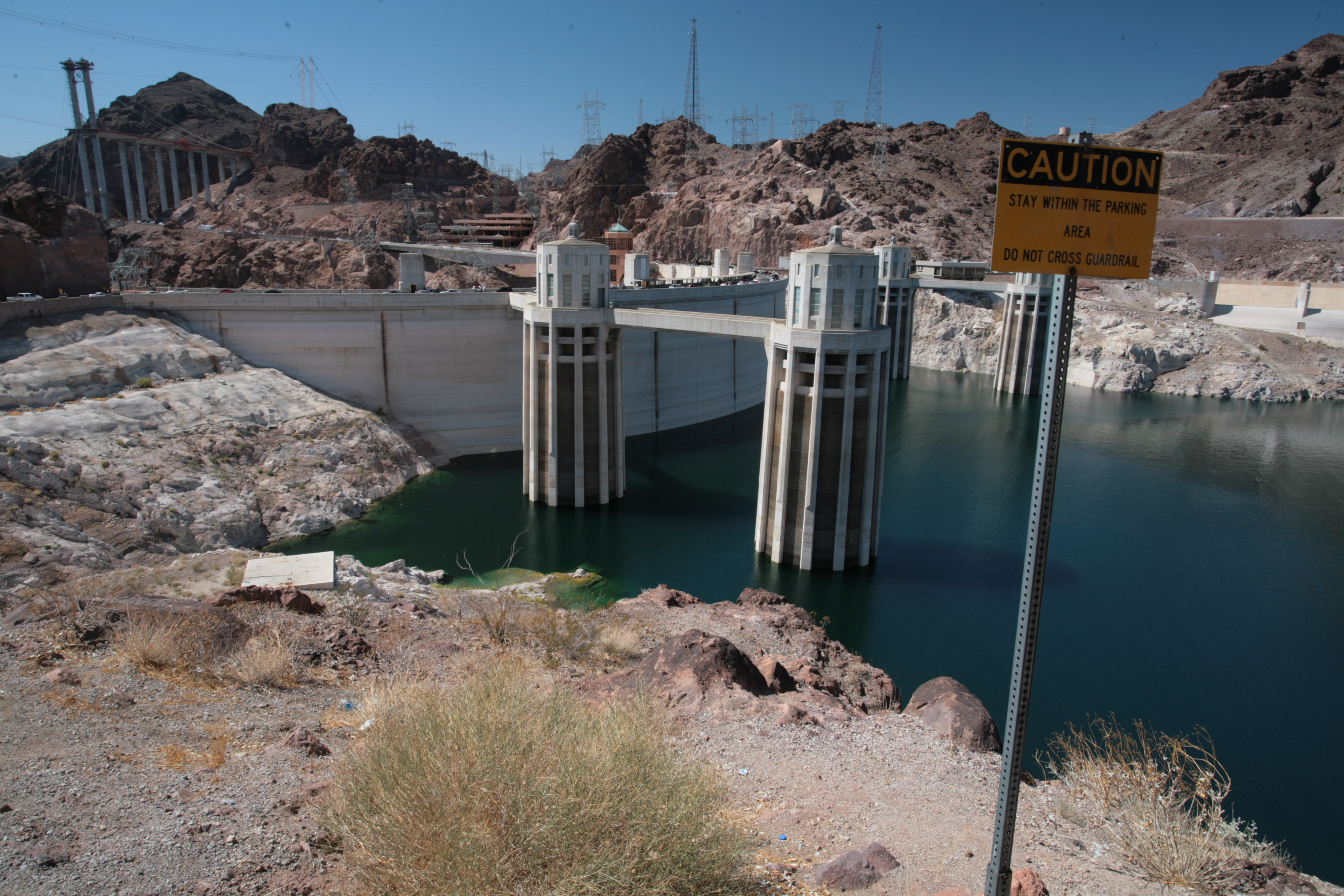 The Hoover Dam in the Black Canyon of the Colorado River, on the border between Arizona and Nevada.