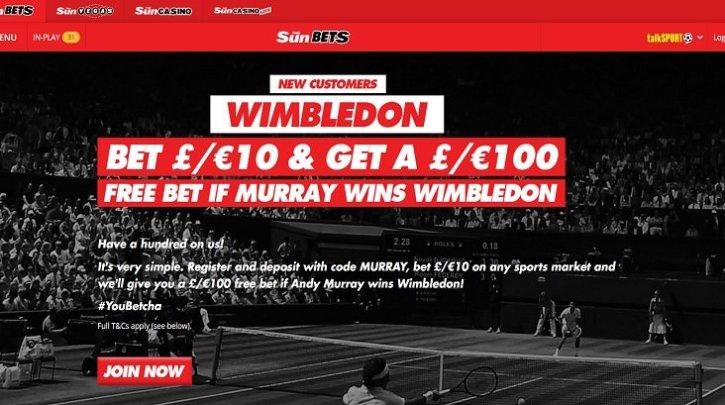 Andy Murray Bet 10 Get 100 free bet if he wins Wimbledon 2017