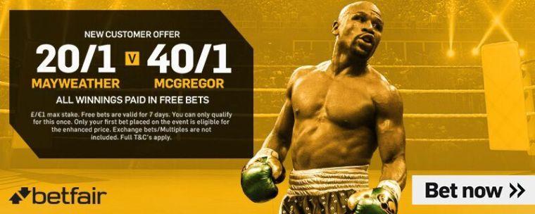 Enhanced Mcgregor vs Mayweather Odds from Betfair