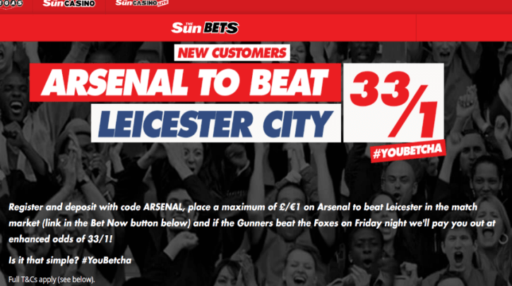 Arsenal to beat Leicester City: Get 33/1 Enhanced Odds
