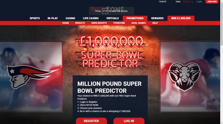 Million Pound Super Bowl Predictor comp at RedZone sports