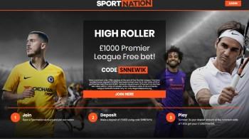 Sportnation High Roller Bonus gets you a £1000 Free Bet