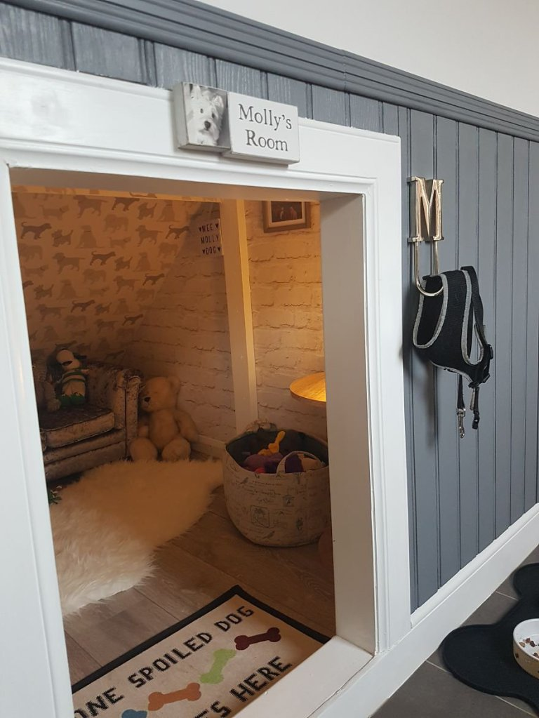 mini dog sofa couch for sale guy converts cupboard under the stairs into diy luxury ...