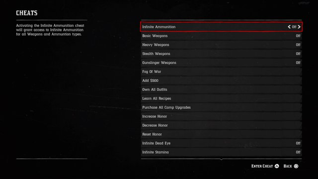 Red Dead Redemption 2's cheat code menu. Credit: Rockstar Games