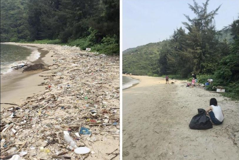 A before and after from a #trashtag poster. Credit: Reddit