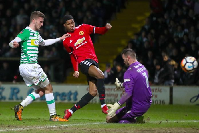 Rashford scores for United in the FA Cup. Image: PA