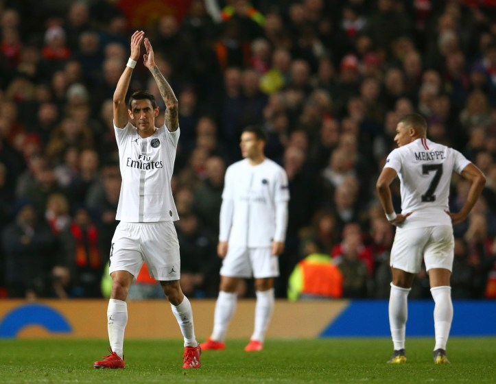 Di Maria applauds the away fans. Image: PA Images